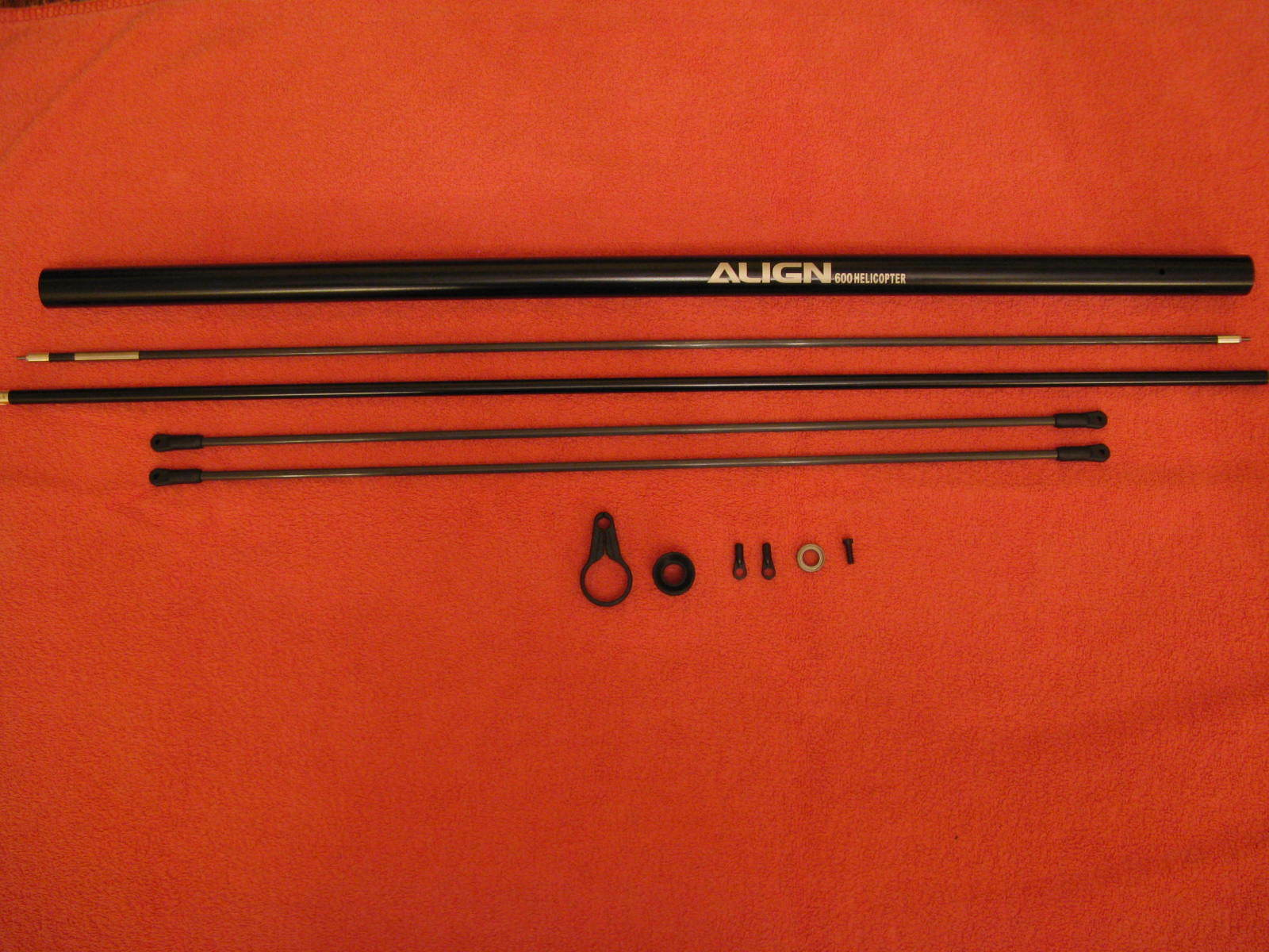 Brand New Align Trex 550X Boom & Supports   Torque Tube   Carbon Rod & Guide