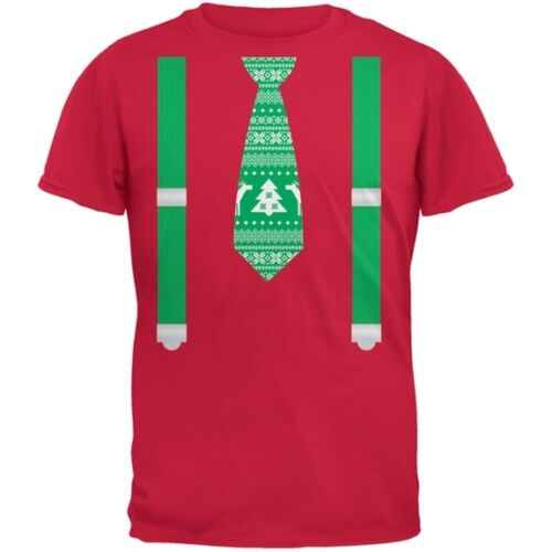 Ugly Christmas Sweater Tie With Suspenders Red Youth T-Shirt Top