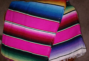 Pink Traditional Mexican blanket Serape southwest Pink,Fuchsia Multi color XL