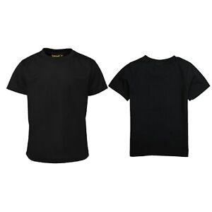 T-SHIRT shirts Kids Crew Neck School Uniform PE Top Vest Girls Boys Plain Tee