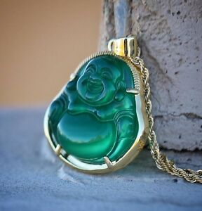 Green jade buddha pendant necklace set 18k gold plated hip hop image is loading green jade buddha pendant necklace set 18k gold mozeypictures Image collections