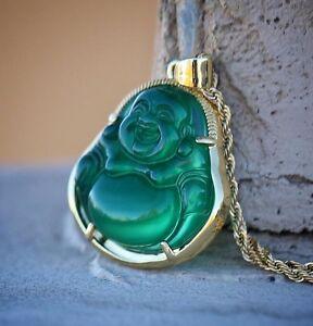 Green jade buddha pendant necklace set 18k gold plated hip hop image is loading green jade buddha pendant necklace set 18k gold mozeypictures Images