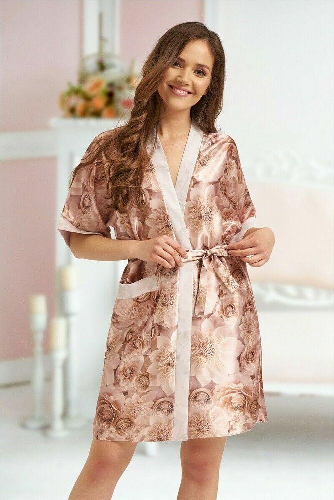 Enthousiaste Or Rose Champagne Longueur Genou Satin Mariage Peignoir Robe De Chambre Floral 8/18 Nouveau Design (En);