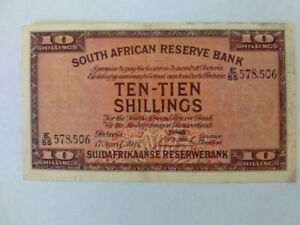 South Africa currency 10 shilling paper money vintage
