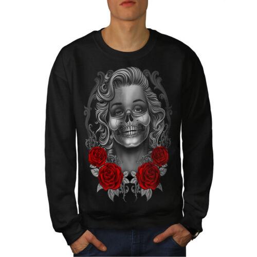 Marilyn Dead Skull Sweatshirt Roses Hommes Noir Nouveau xrBedCo