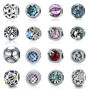 Women-S925-Sterling-Silver-Charms-Beads-European-With-CZ-DIY-Bracelets-Jewelry