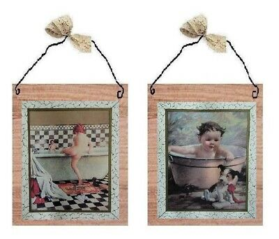 Vintage Kids In Tub Pictures Bathroom Wall Hanging Home Decor Bath Plaques Ebay