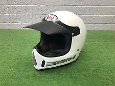 RARE Vintage 1990's BELL MOTO 4 Motocross HELMET Full Face WHITE Gray 7 5/8 MX