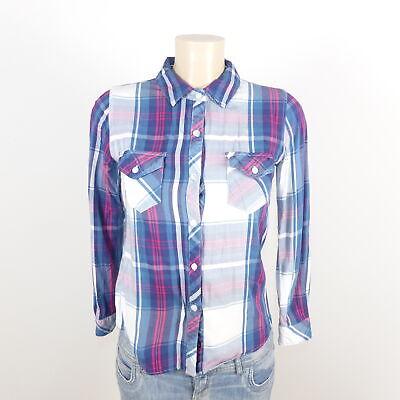 Aggressiv Rails Bluse Hemd Kariert Blau Pink Weiß Gr. Xs 34