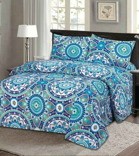 Bamboo Style Bed Sheet Set 4PC Wrinkle Free Deep Pocket King Size Fade Resistant