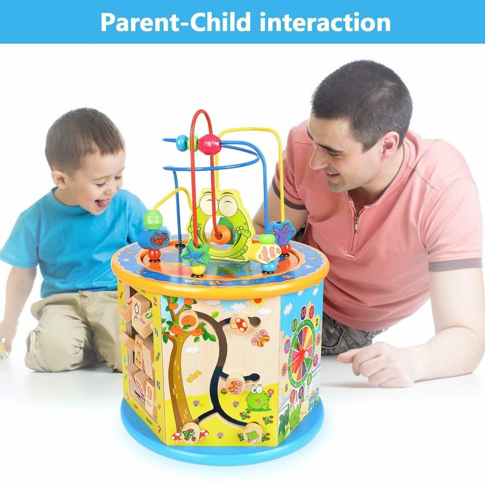 Wooden Activity Cube 8 in in in 1 Baby Bead Maze Toys Gift Educational Early Learning 5fffee