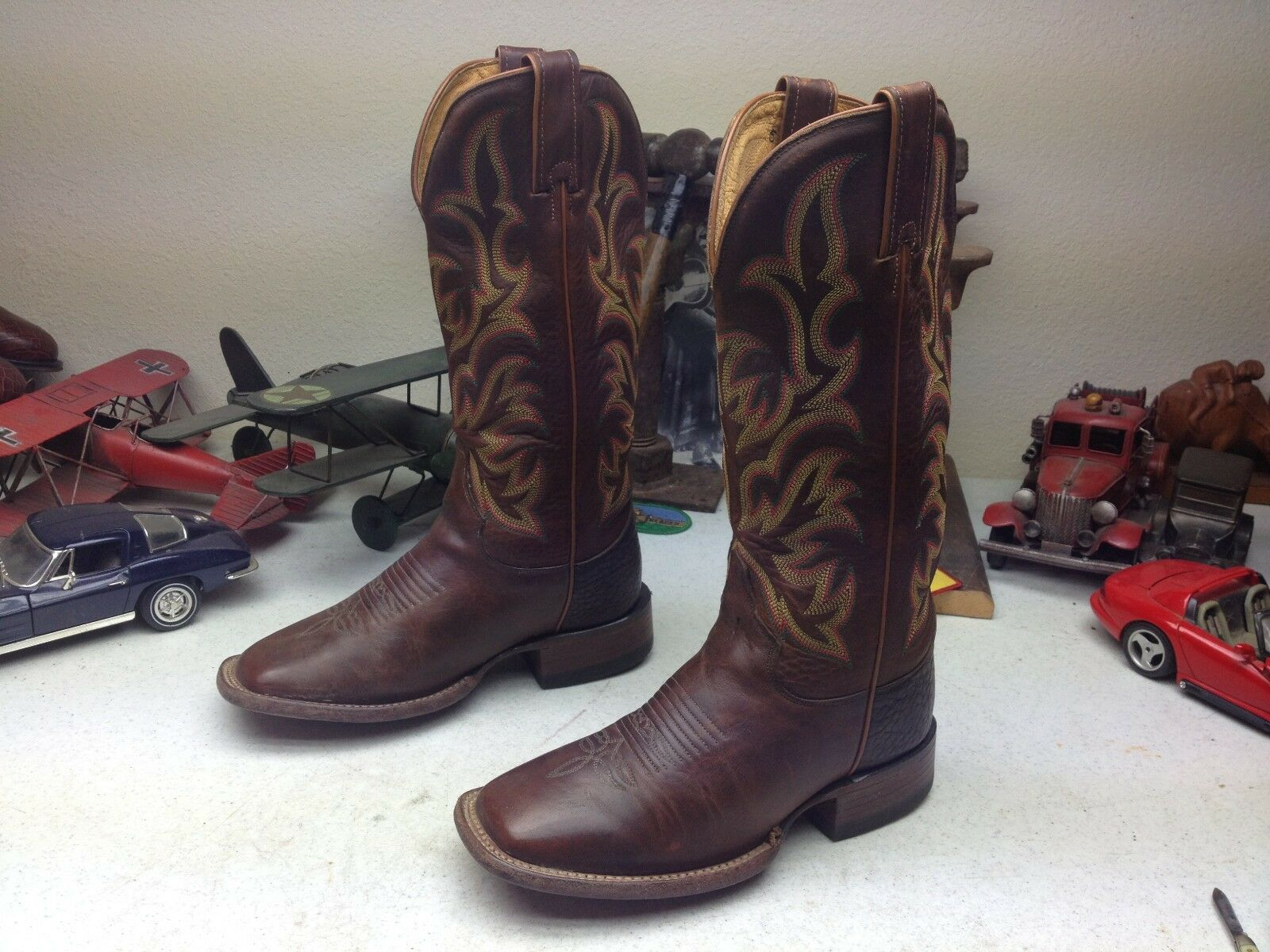 USA JUSTIN SQUARE TOE LEATHER WESTERN COWBOY TRAIL BOSS RANCH WORK BOOTS 6 D