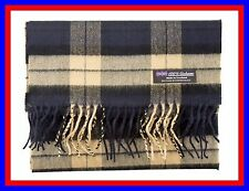 100% Cashmere Scarf Blue Camel Check Plaid Scotland Tartan Wool Infinity ZS02