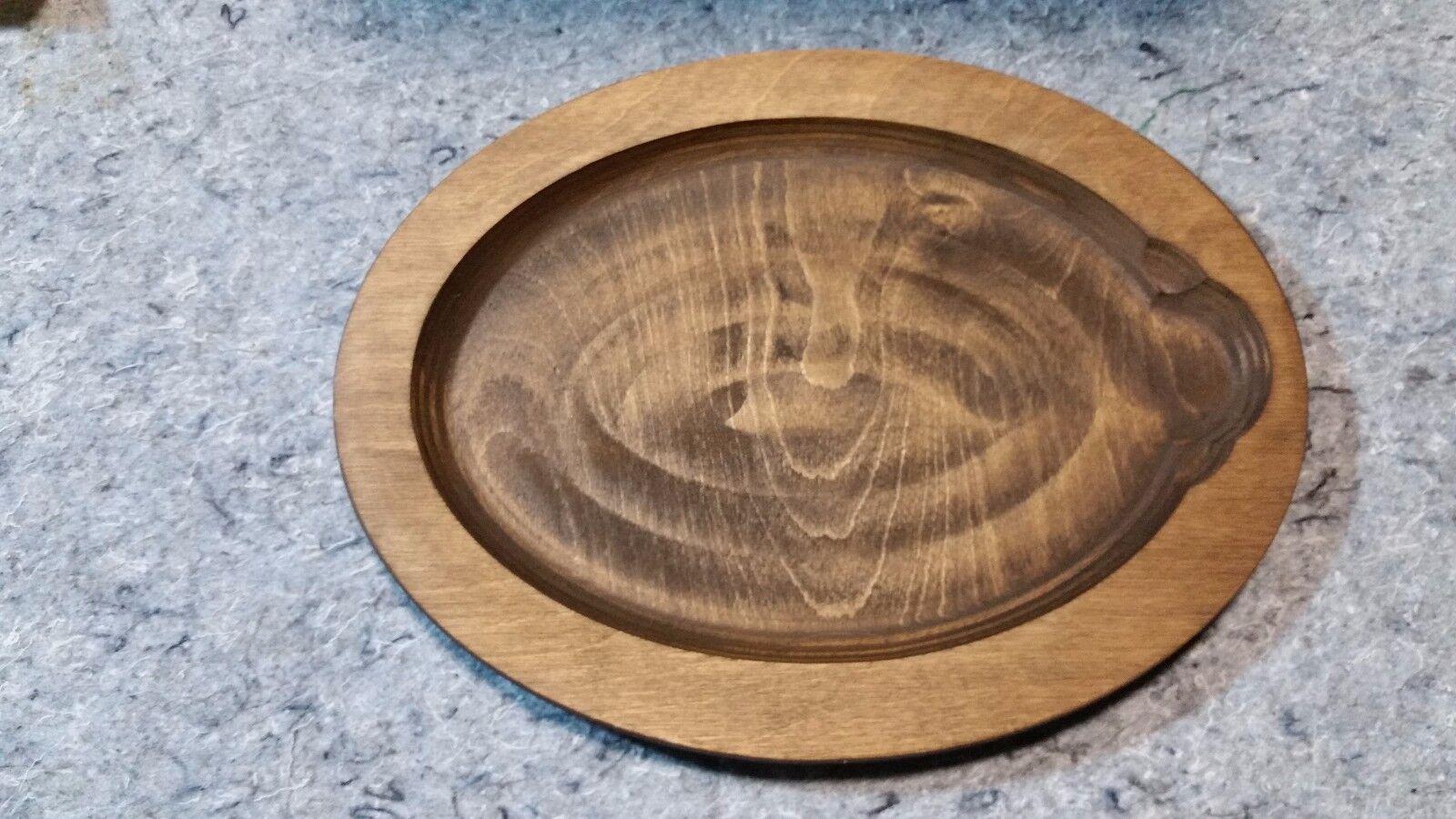 Box of 6 Lodge 12 inch Oval shaped Walnut wooden Fajita liner T49