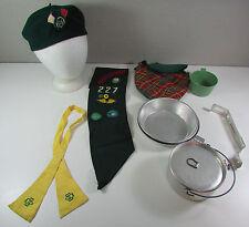 Vtg Utah Girl Scout Wool Kangol Hat Kerchief Metal Pot Canister Bowls Cup Sash