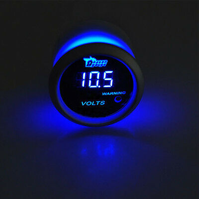 "2"" 52mm Black Car Auto Digital Blue LED Volt Voltage LED Gauge Kit"