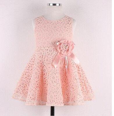 Toddler Kids Princess Girls Lace Floral Sleeveless Tutu Dress Party Dress Pink