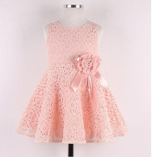 Girls Kids Dresses One Piece Lace Floral Toddlers Children Princess Dress 2-7 Y