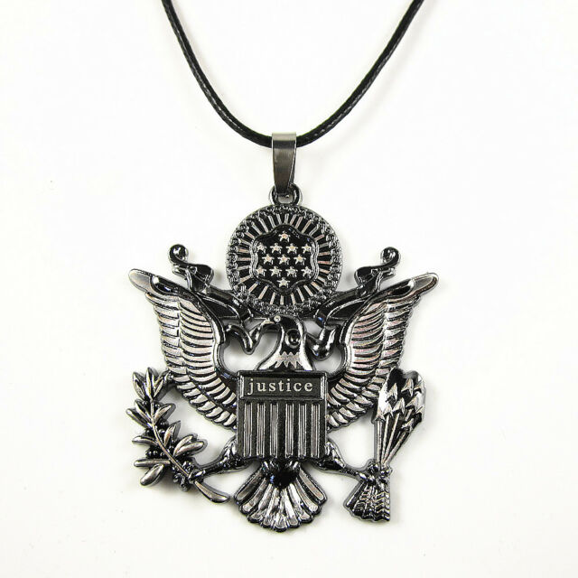 Black Stainless Steel Eagle Great Seal of the United States Pendant Necklace