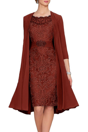 New Knee Length Mother of the Bride Dress New Chiffon Jacket Wedding Guest Gown