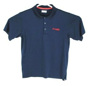 Mens-Columbia-PFG-Short-Sleeve-Polo-Shirt-Size-Medium-M-Navy-Blue