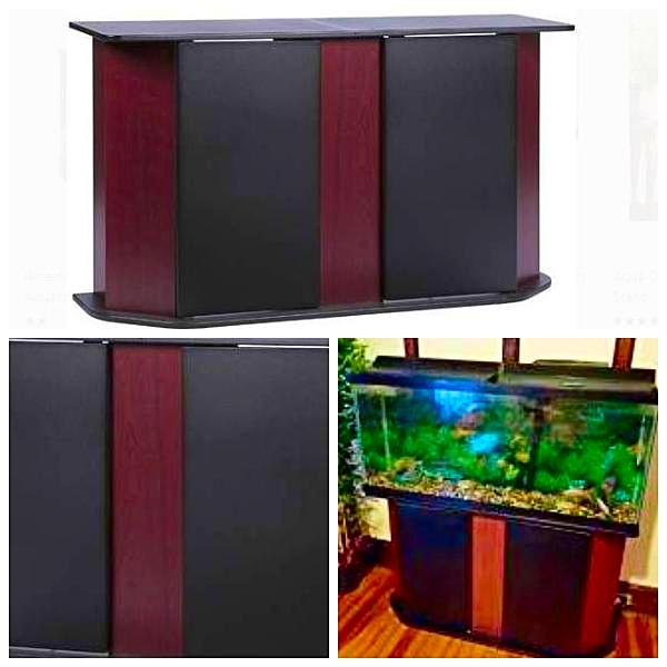 Deluxe 55Gallon Aquarium Stand Storage Cabinet Fish Tank Holder Cherry Brown
