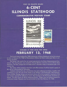 1339-6c-Illinois-Statehood-Stamp-Poster-Unofficial-Souvenir-Page-Folded-MC