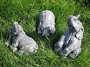 3pc-Resin-Elephants-Stone-Effect-Garden-Ornament-Lucky-Statue-Sculpture-Gift