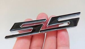 New White SS Side Fender Trunk Emblem Badge Decal for Chevy IMPALA COBALT Camaro