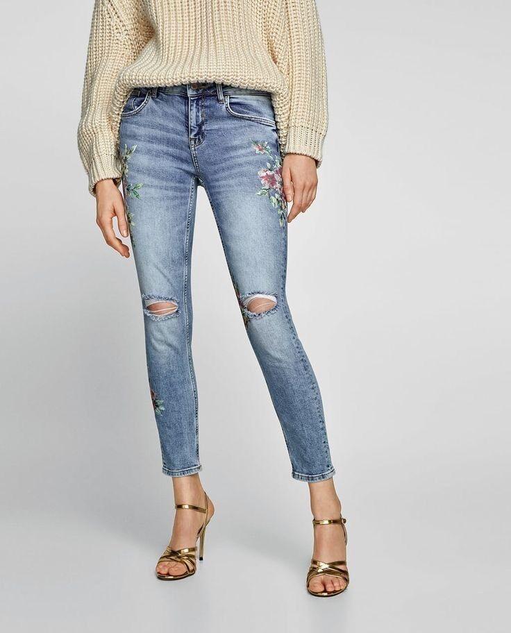 Zara Women Floral Print Jeans Light bluee Size 4 NWT