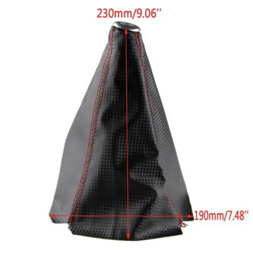 Universal Car Red Stitch Carbon Fiber Look Manual Gear Shifter Shift Knob Cover