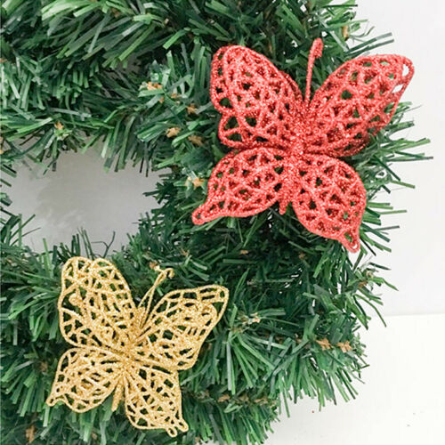 3PCS Hollow Butterfly Christmas Tree Clip-on Artificial Bauble Xmas Decor New