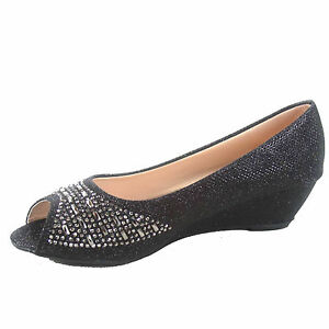 Details about Women's Classic Fashion Open Toe Patent Glitter Low Wedge Pump Shoes Size 5 10