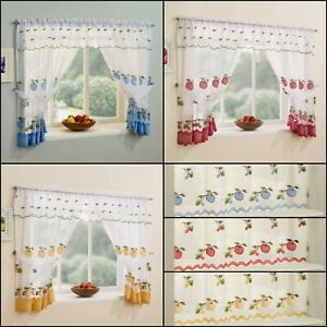 Kitchen-Window-Net-Curtains-Set-With-Apple-amp-Cherry-Embroidery-amp-Gingham-Trim