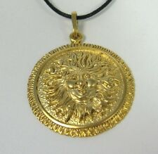 Sun Face Pendant 14K Gold over Bronze Necklace USA Made Mens Jewelry