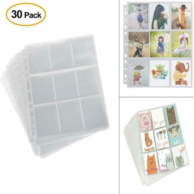 30 pack 9-Card Protector Sleeves Pocket Trading Card Album Pages Binder Sheet
