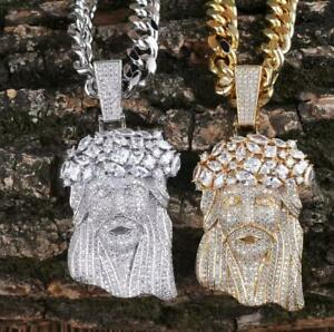 Iced Out Jesus Hip Hop Necklace Big Pendant Jewelry Bling Chain Silver Gold Ebay