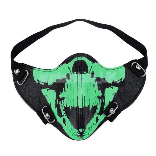 PU Skull Half Face Mask Skeleton Head Gothic Steampunk Punk Cycle Halloween