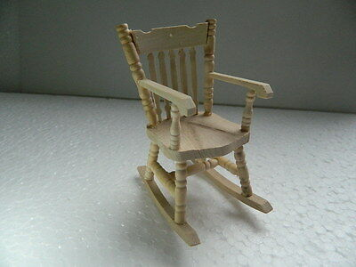 HP1 1//12th scale DOLLS HOUSE BAREWOOD WOODEN ROCKING CHAIR