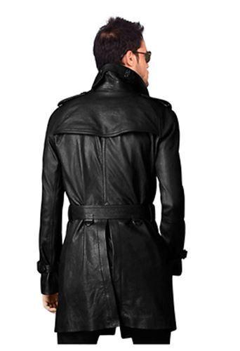 MEN/'S STYLISH BELTED BLACK LONG COAT PEA COAT-BNWT LEATHER TRENCH COAT