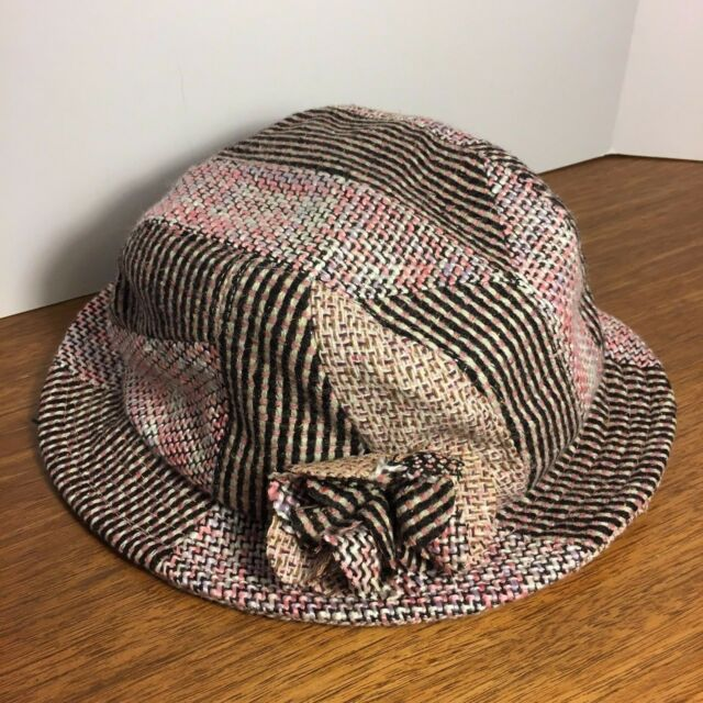 2c5bff96bdbe9 Preston & York Casual Hat Women's Wool Blend Pink Black Plaid with Flower  detail