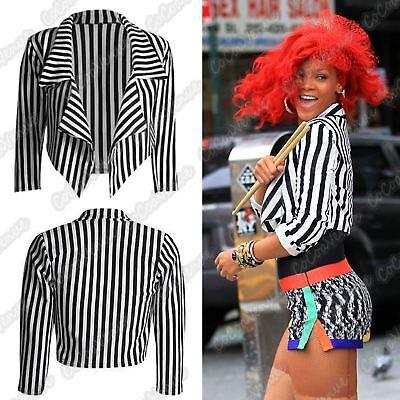 New Womens Black White Stripe Open Front Waterfall Short Blazer Crop Jacket Top