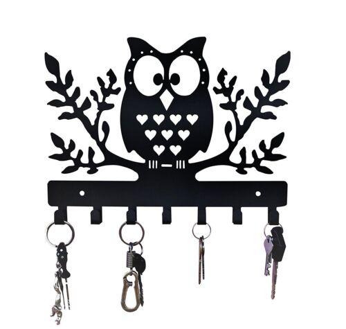 Key Holder Owl Steel Wall Hanging Key Hanger With 7 Hooks 2 5 Cm Height