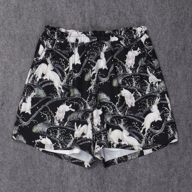 Japan Harajuku Kimono Yukata Style Cute Bunny Rabbit Coat Bathrobe Causal Shorts