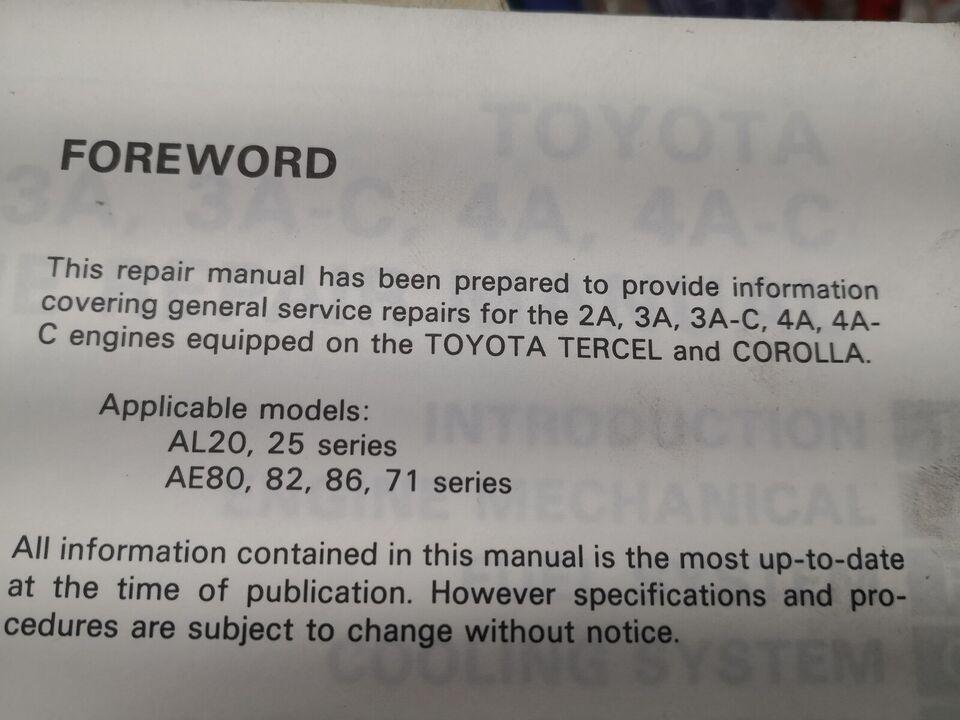 Reparationsbøger, Toyota motorbog mv