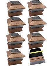 Solar Powered LED Copper Color Post Deck Cap Square Fence Garden Light 8- Pack