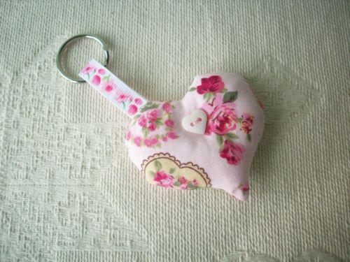 Handmade Fabric Heart Keyring Cath Kidston Rose /& Hubble William Morris