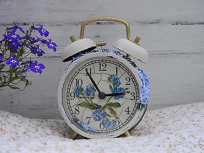 Clock Аlarm Clock Shabby Chic Forget-me-nots Retro Birthday Gift,gift Idea,gift Home Décor