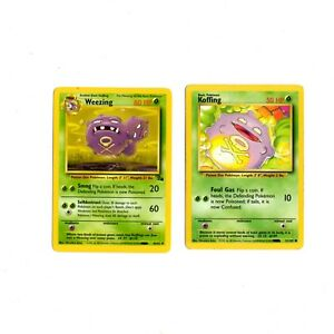 Pokemon-Card-Weezing-45-62-Fossil-amp-Koffing-51-102-Base-Cards-Lot-As-Is