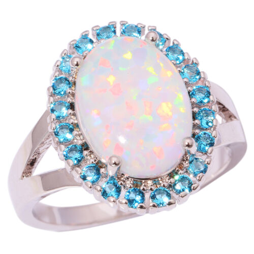 White Fire Opal Aquamarine Silver Women Jewelry Gemstone Ring Taille 7-9 OJ8592